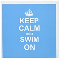 InspirationzStoreタイポグラフィ–Keep Calm and Swim On–Blue Carry on Swimming–趣味やPro Swimmer Gifts–プール楽しい面白いユーモア–グリーティングカード Set of 12 Greeting Cards