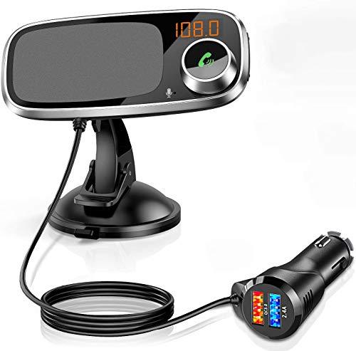 Trasmettitore FM Bluetooth con Supporto per Telefono, 3 in 1 Kit Radio FM Bluetooth Vivavoce per Auto, 2 Porte USB Per la Ricarica Rapida QC3.0 e 5V / 2.4A, Può Ruotare di 360 °