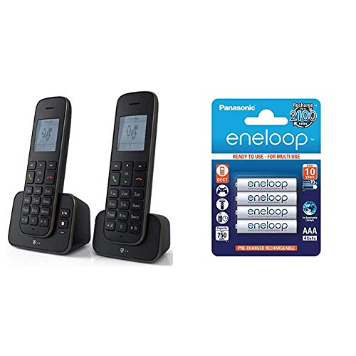 Telekom Sinus A207 Duo Schnurlostelefon mit AB schwarz, Blauer Engel & Panasonic eneloop, Ready-to-Use NI-MH Akku, AAA Micro, 4er Pack, min. 750 mAh, 2100 Ladezyklen, geringe Selbstentladung