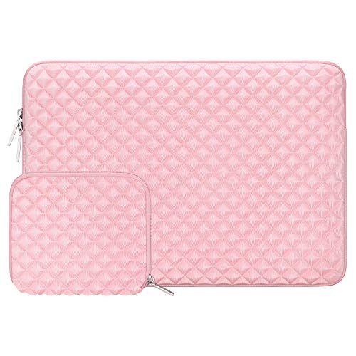 MOSISO Laptop Sleeve Compatible with 13-13.3 inch MacBook Pro, MacBook Air, Notebook Computer, Diamond Foam Neoprene Bag with Small Case, Rose Quartz