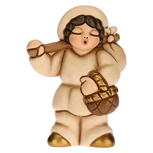 THUN - Statuina Presepe Uomo con Fagotto - Decorazioni Natale Casa - Linea Presepe Classico, Variante Beige - Ceramica - 6 x 3,8 x 8 h cm