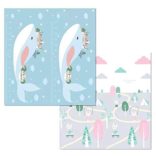 Fudeer Alfombra De Juego para Bebés Plegable Portátil Antideslizante Impermeable Alfombrilla De Espuma Reversible Alfombrilla Gatear Dibujos Animados Alfombrilla Picnic Niños,3,1.8 * 2M*1.5cm