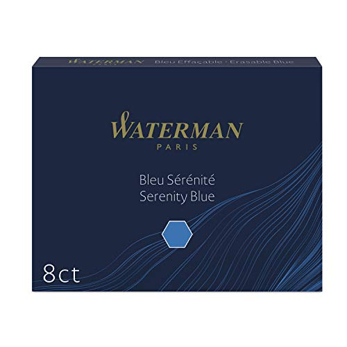 Waterman - Cartuchos de tinta para plumas estilográficas, largos, azul serenidad, paquete de 8