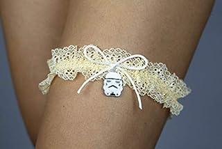 Giarrettiera di pizzo matrimonio sposa biancheria intima regali de nozze addio al nubilato Star Wars beige