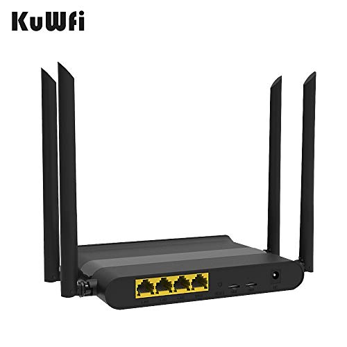 KuWFi WLAN router, gaming router ontgrendeld 4G draadloze router met dual-simkaart High Speed WiFi router met 5dBi High Gain antenne voor thuiskantoor