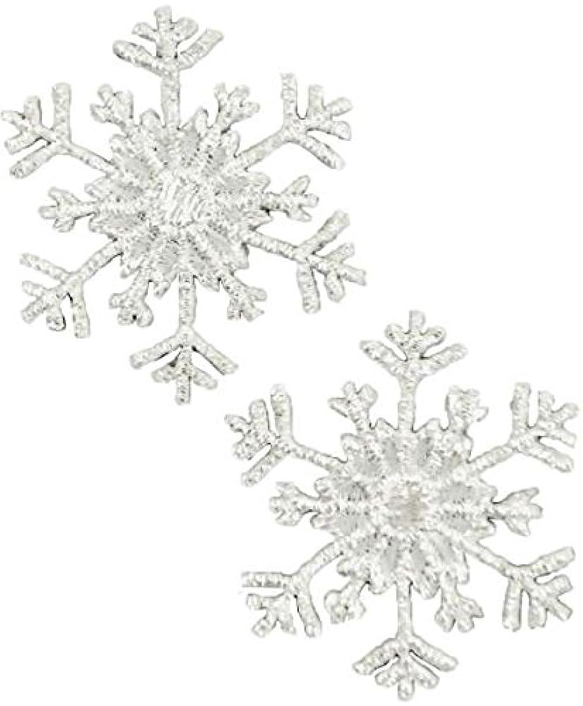 Expo International Christmas Medium Branch Snowflake Iron-on Applique Trim Embellishment, Silver, 2-Pack zoxo8369117814