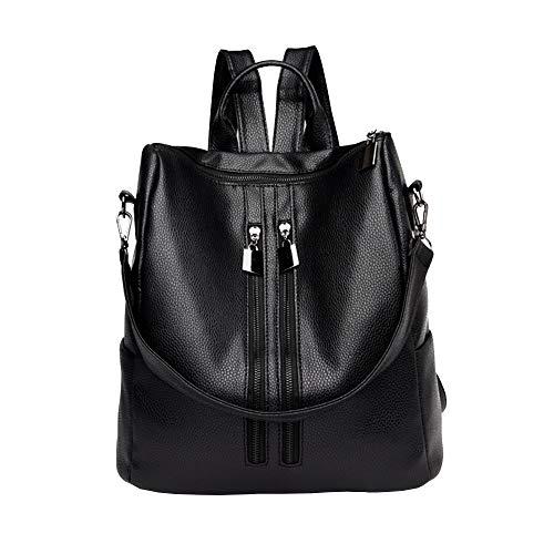 Mochila de viaje de piel de charol negra para mujer Moda Mochila de cuero Monedero Pequeña Mochila negra para mujeres