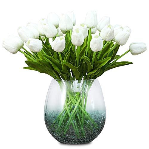 Hiveseen 10 Pcs Tulpen Künstlich, Künstliche Blumen Deko für Brautsträuße, Haus, Party, Büro, DIY Blumenarrangements