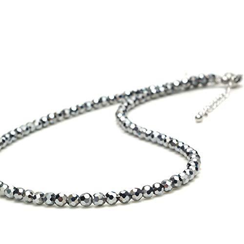 [Amazon限定ブランド] Beauteller テラヘルツ 4mm ダイヤモンドカット テラヘルツ鉱石 原石 パワーストーン 天然石 健康アクセサリー (ネックレス 50cm)