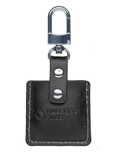 musegear Schlüsselfinder mit Bluetooth App aus Deutschland in schwarzer Leder-Tasche NF I Keyfinder laut für Handy in weiß I Schlüssel Finden