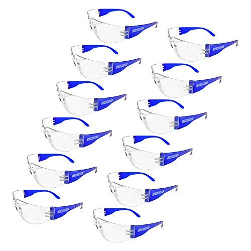 JORESTECH Eyewear Protective Safety Glasses, Polycarbonate Impact Resistant Lens Pack of 12 (Clear / Blue)