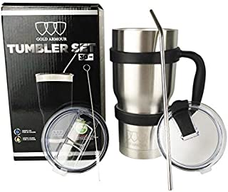 30 oz Tumbler - 6 Piece Stainless Steel Insulated Water & Coffee Cup Tumbler with Straw, 2 Lids, Handle - 18/8 Double Vacuum Insulated Travel Flask (Stainless Steel, 30oz)