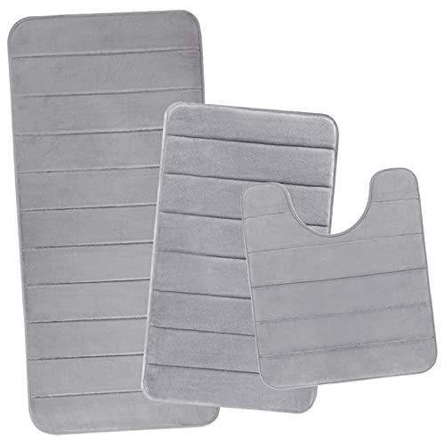 Yimobra Memory Foam Bathroom Mat Set, 44.1x24 + 31.5x19.8 and U-Shaped Toilet Mats, Soft Comfortable...
