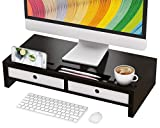 Monitor Stand Riser with Drawer - Desk Shelf Organizer Keyboard Storage Black 22' x 10.6' x 4.7'