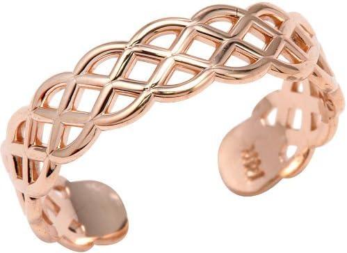 10k Rose Gold Adjustable Pink Weave Toe Ring