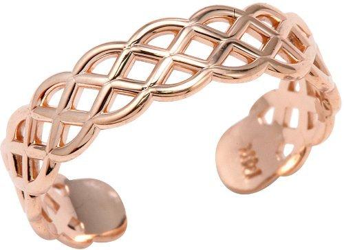 14k Rose Gold Adjustable Pink Weave Toe Ring