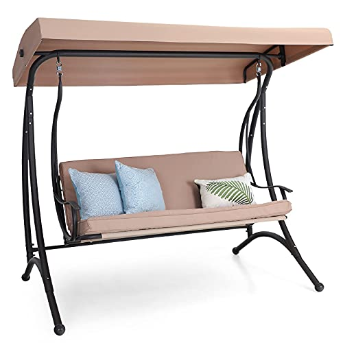 PHI VILLA 3-Seat Patio Swing with Canopy,Outdoor Swing with Removable Cushion,Porch Swing Chair/Bench for Patio, Garden, Poolside, Balcony, Backyard,Alloy Steel Frame,Brown