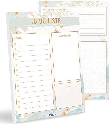 blaash® To Do Block DIN A5   50 Seiten Tagesplaner mit Listen für Aufgaben, Notizen und Ideen   Optimale Organisation und Motivation im Alltag   ToDo Liste Block   Notizblock To Do   Light Blue