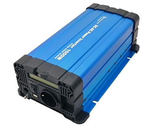 solartronics Spannungswandler FS1000D 24V 1000/2000 Watt Reiner Sinus BLAU m. Display FS Serie Inverter Wechselrichter