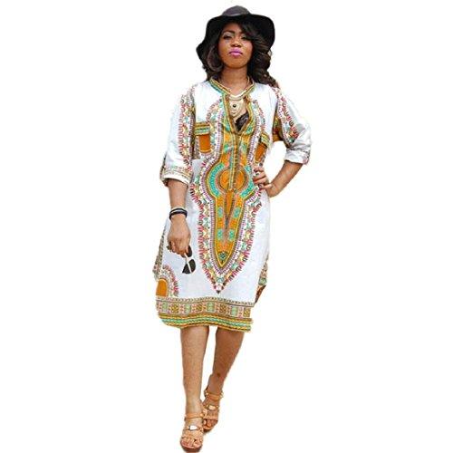 Culater® Mantener a Las Mujeres Divertidas del Vestido de Partido Ocasional del Verano V-Cuello Profundo de la impresión Tradicional Africana