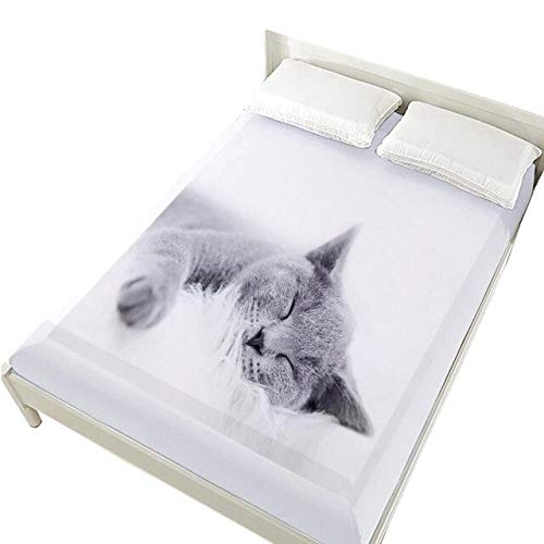 QZXCD Fitted SheetsCreative 3D Bed Sheets On Elastische Band Bed, 160x200 Fitted Sheets, Mattress Cover for Bedsheet, Bed Linnen Animal Smile Dog Bedding 160x200 Deep 30cm Pet-05