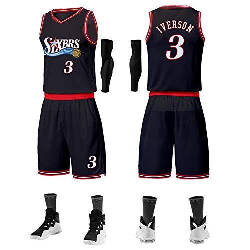 LDFN Jersey Baloncesto Allen Iverson Camiseta con El Número 03, Verano Transpirable...