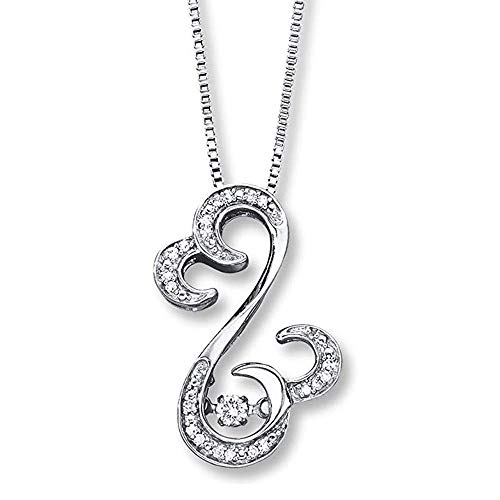 Valentine's Day Love Gift Open Hearts Rhythm 1/10 ct tw Diamonds .925 Sterling Silver Over Pendant Necklace