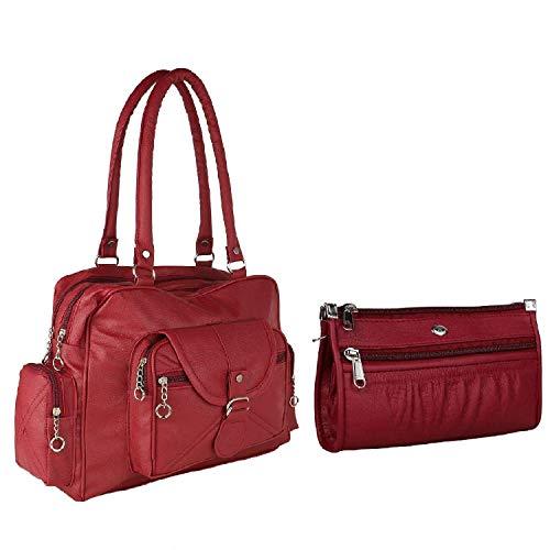 Bizarre Vogue Women's Handbag With Wallet (Set of 2) (BV1188_Maroon)