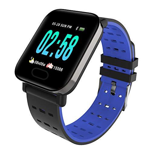GBYN Pulsera Inteligente con Pantalla a Color, Pulsera Impermeable A6 en Tiempo Real con detección de Salud IP67, Adecuada para el Sistema Android iOS-Blue