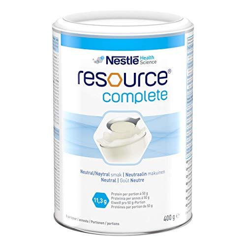 Resource® Complete | Eiweiß- und kohlenhydratreiches Pulver zur Herstellung einer Trinknahrung | Zur Anreicherung von Getränken und Speisen | geschmacksneutral | 400g