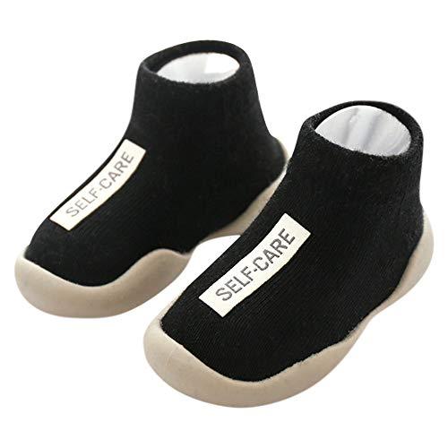 Niños Zapatos de Primeros Pasos Antideslizante Bebé Zapatos de Casa Diarios Suave Elástico Calcetines-Zapatos Zapatillas Suela Blanda Cómodo Negro, 24/25