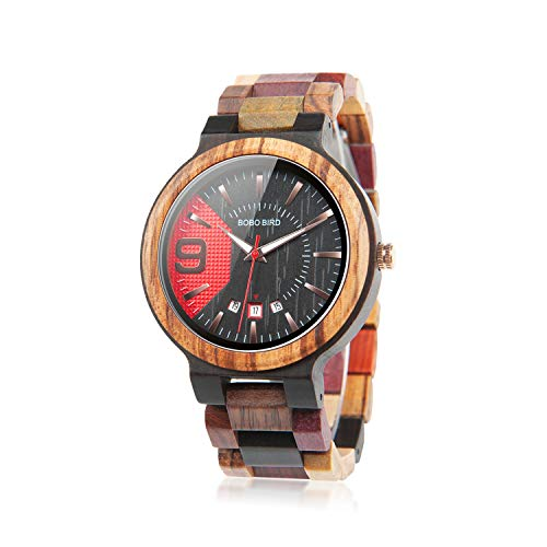 BOBO BIRD Relojes de madera coloridos para hombre, analógicos, de cuarzo, fecha, reloj de madera, hecho a mano, casual, con caja de madera para hombres