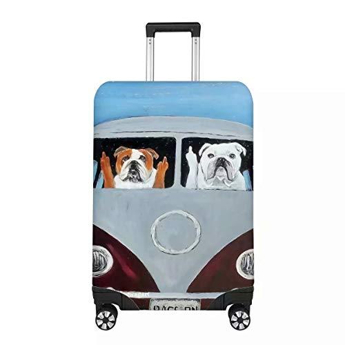 Chaqlin - Funda Protectora para Maleta de Viaje con diseño de Perro y Gato, de Licra elástica y Antipolvo, para Maletas de 18 a 32 Pulgadas