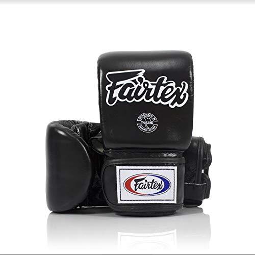 Fairtex Muay Thai Bag Gloves TGO3 - Super Sparring Bag Gloves - Open Thumb - Black, Large