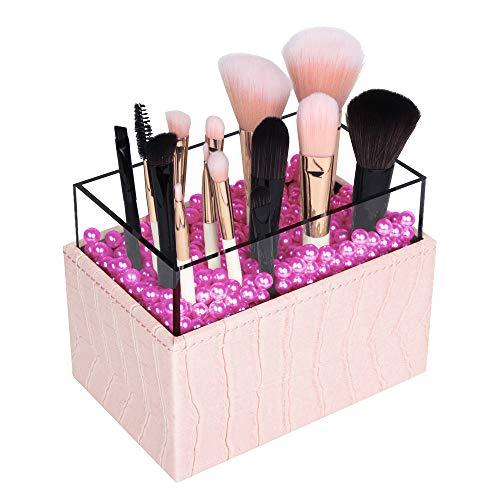JackCubeDesign Brocha de maquillaje de cuero Lápiz labial cosmético Lápiz Pen Holder Organizador Caja de almacenamiento con perlas blancas y cubierta de acrílico (Rosa, 9,4 x 14,5 x 10 cm) -: MK283B