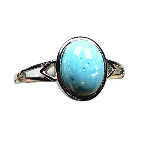 11x9mm genuino natural turquesa anillos para mujeres señora hombre cristal plata oval perlas piedra ajustable anillo joyería AAAAA