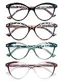 HEEYYOK Gafas de Lectura Mujer Paquete de 4 gafas a la Moda Cat Eye Comodas con Bisagra de Resorte Ligeras Aspecto Elegante Vienen con Bolsa
