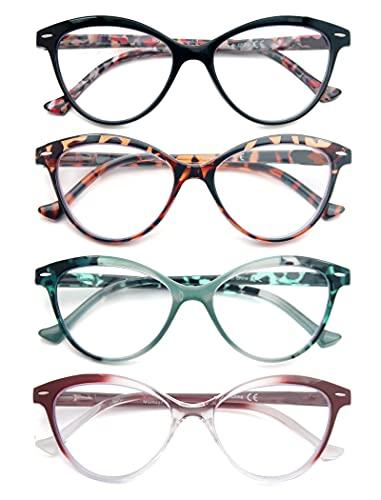 HEEYYOK 4 Pacco Occhiali da Lettura per Donna Leggero Moda Cerniere a Molla di Qualita Occhiali da Vista Mescola Colore