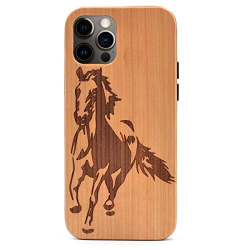 CYD Wooden Case Compatible with iPhone 12 Pro Max Real Wood Engraved Shockproof Drop Proof Slim Bumper TPU Protective Cover (Animal Horse Running)