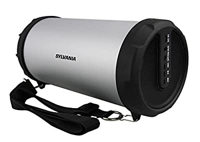 Sylvania Bluetooth Tube Speaker with Radio and Shoulder Strap (Graphite)