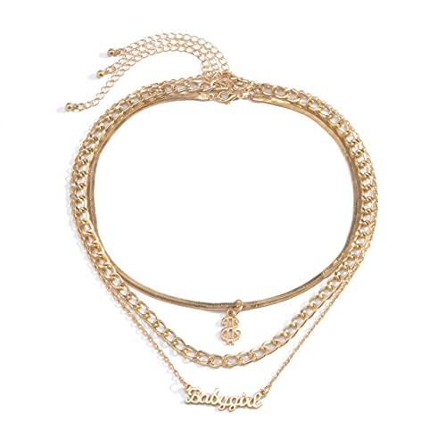 JIAQINGRNM Collar de joyería europea y americana simple multicapa de hueso de serpiente cadena collar de moda Wild Letter Dollar collar conjunto de San Valentín cumpleaños