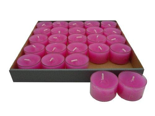 Wenzel 25 Teelichter im Acryl - Cup, Nightlights, Pink, bis zu 8 Stunden Brenndauer, Klarsichtgehäuse, transparente Hülle, Sparpack, Sonderposten *