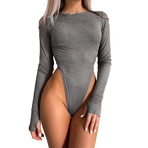 WangsCanis - Body de mujer de manga larga y elegante, sexy, para invierno, color liso gris S