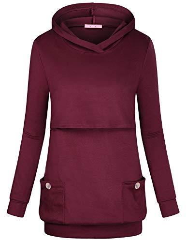 JOYMOM Nursing Shirt Long Sleeve, Maternity Feeding Tops Mama V Neck Double Layers Breastfeeding Hoodie Womens Pregnancy Jerseys Sweatshirt Boutique Clothing for Autumn House Wear Wine Red XX-Large