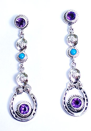 Horseshoe Cowboy Hat Dangle Earrings.925 Sterling Silver Native American Handmade Amethyst Sleeping Beauty Turquoise (Purple)