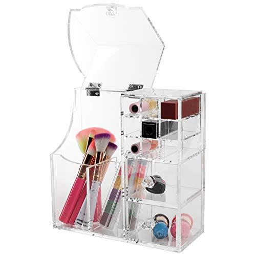 Caja de almacenamiento de lápiz labial acrílico transparente con tapa, 9 rejillas + cajones pequeños de 3 capas, caja de almacenamiento de artículos pequeños de gran capacidad para lápices labiales