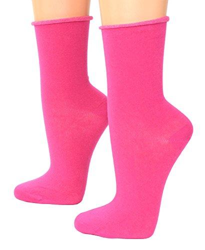 Unbekannt Damen Socken mit Rollrand ohne einschneidenen Gummi, Größe:35/38, Farben alle:pink