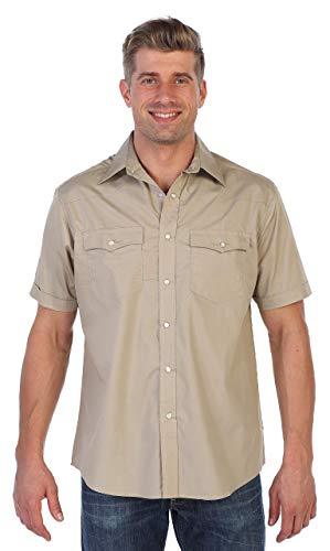Gioberti Mens Casual Western Solid Short Sleeve Shirt with Pearl Snaps, Khaki, Large