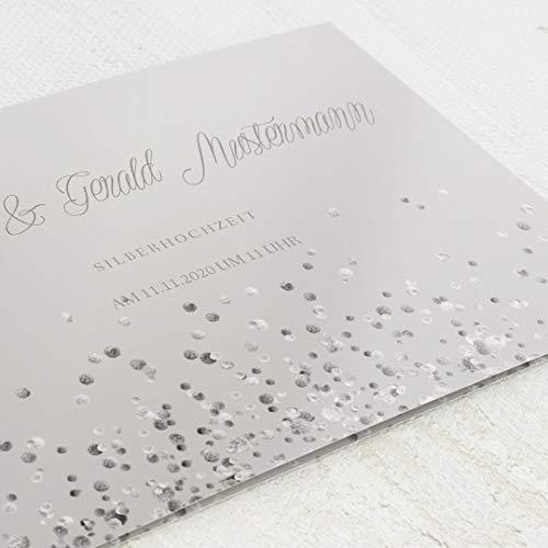Dankeskarten Silberhochzeit, Silber Glitzerregen, 5er Klappkarten-Set C6, personalisiert mit Wunschtext, wahlweise Silberfolien-Veredelung & persönliche Bilder, optional mit Design-Umschlägen