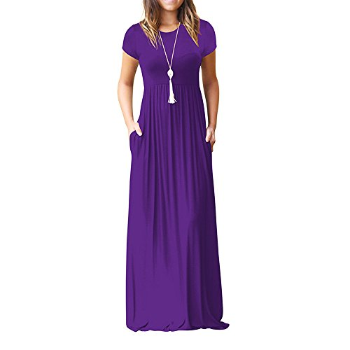 Ulanda Long Maxi Dresses for Womens Short Sleeve Loose Plain Maxi Dresse Casual Long Dresses with Pockets Purple